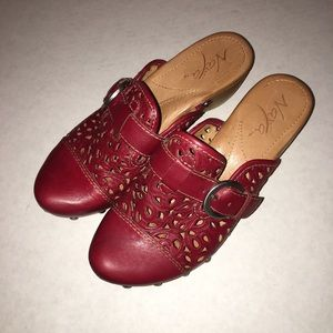 Naya Red Studded Buckled Clogs 6M